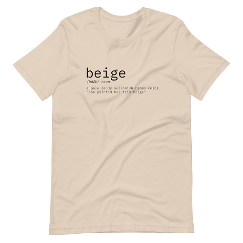 Beige Defined Short-Sleeve Unisex T-Shirt