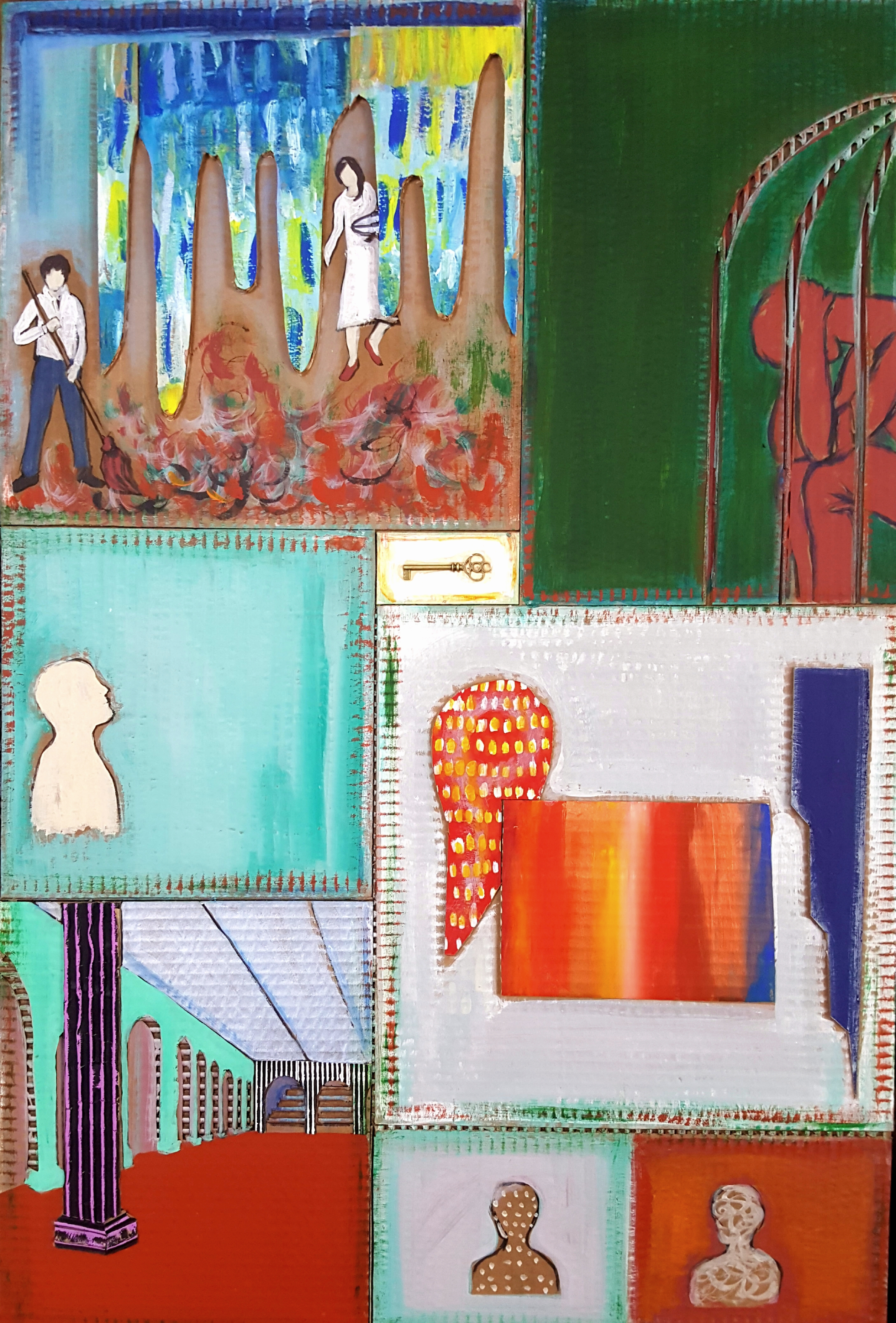 The Interpreter's Parlor 36x24inches mixed media 2018