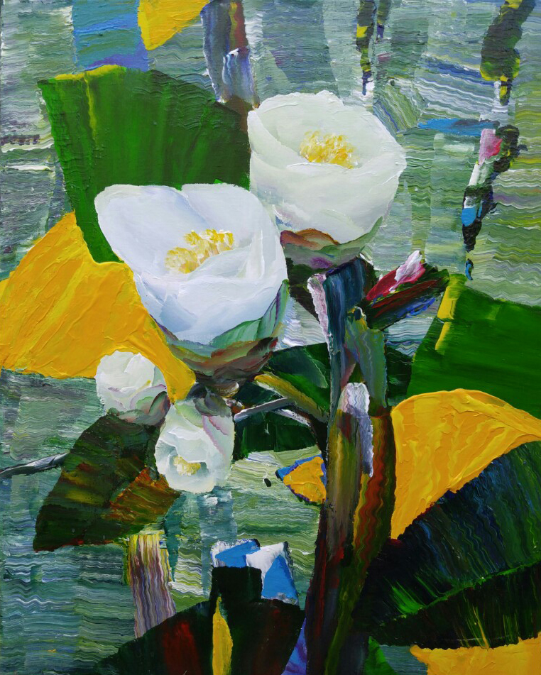 1월.강종열 Kang Jongyeol.White Camellia.80 X 61 cm. Oil on canvas. 2014