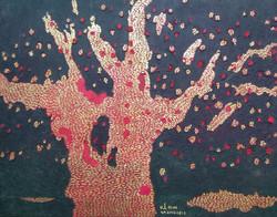 4월.오귀애 Oh Gyeae. Old Tree. 120 X 65 cm. Korean traditional paper