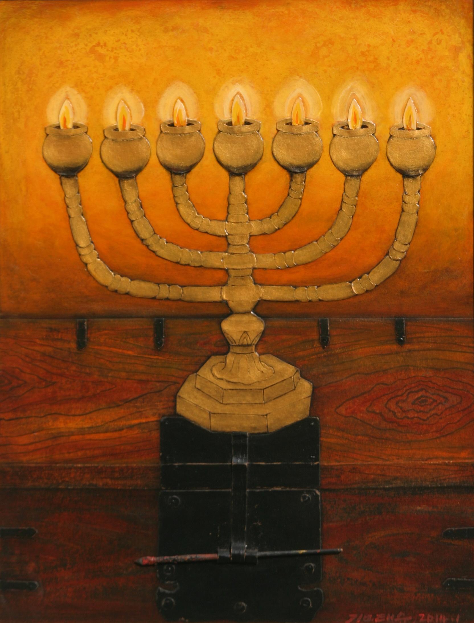 12월.김태순 Kim Taesoon. Seven Lamps. 80 X 61 cm. Paper & Acylic. 2014