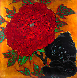 Peony & Rock #1_100x100cm_natural lacquer, silver leaf, mother of pearl on wooden panel_2016