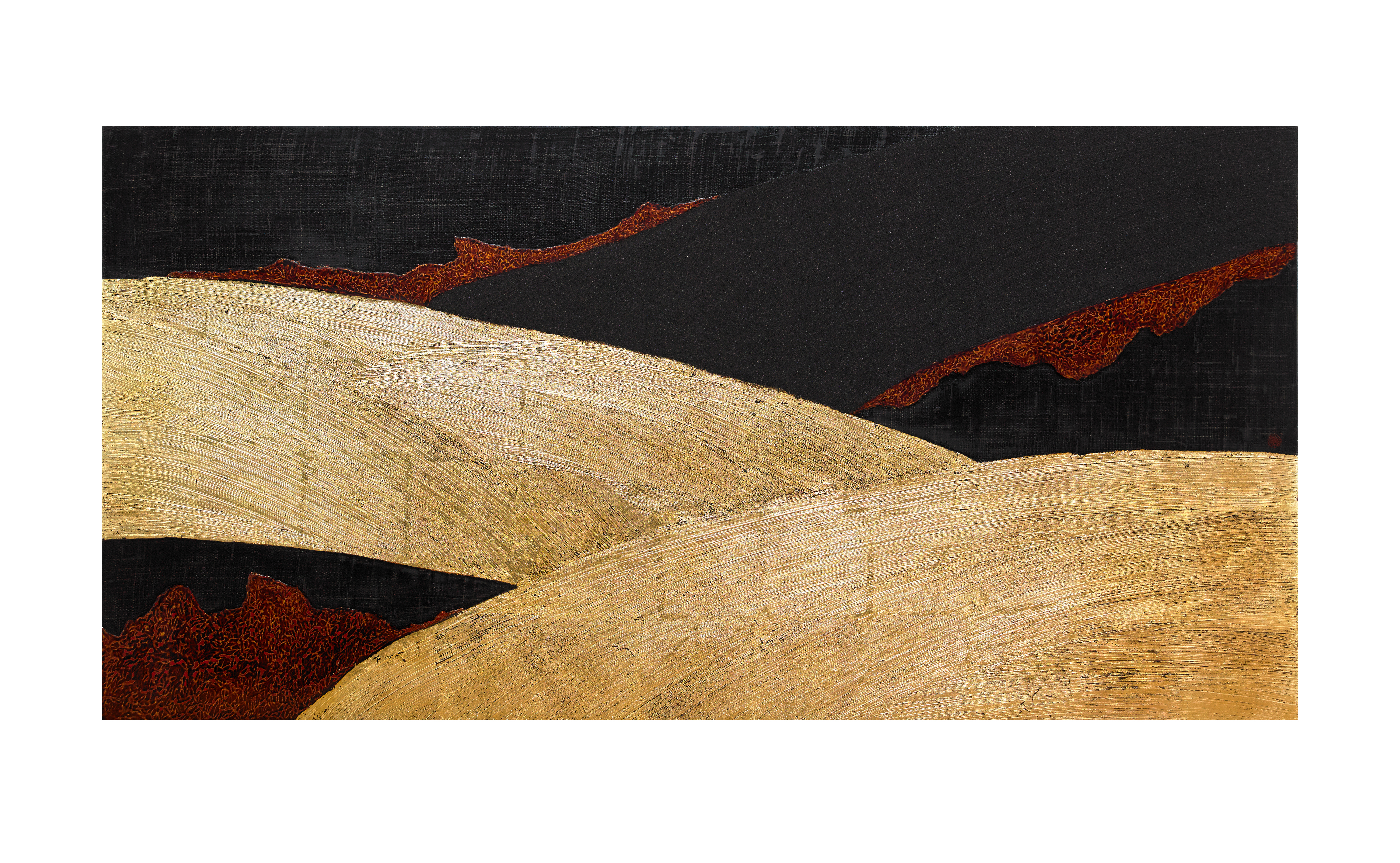 Flow _9_50x100cm_natural lacquer on wooden panel, gold leaf_2018