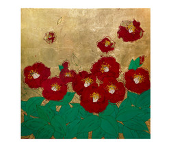 Spring Blossom_60x60cm_natural lacquer, gold leaf  on wooden panel_2018[5207]