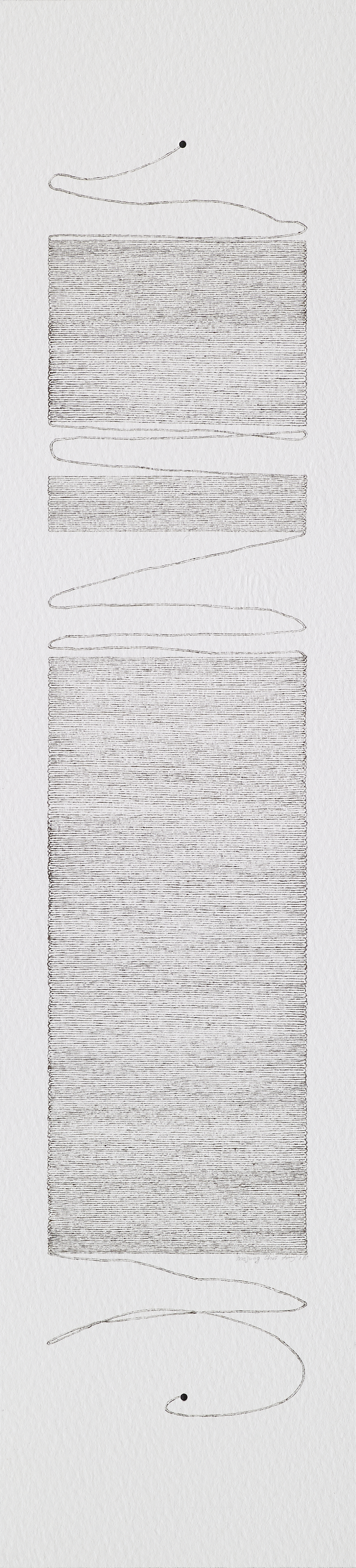 thought 160913__graphite powder, copper powder, pen on paper_11x48cm_2016