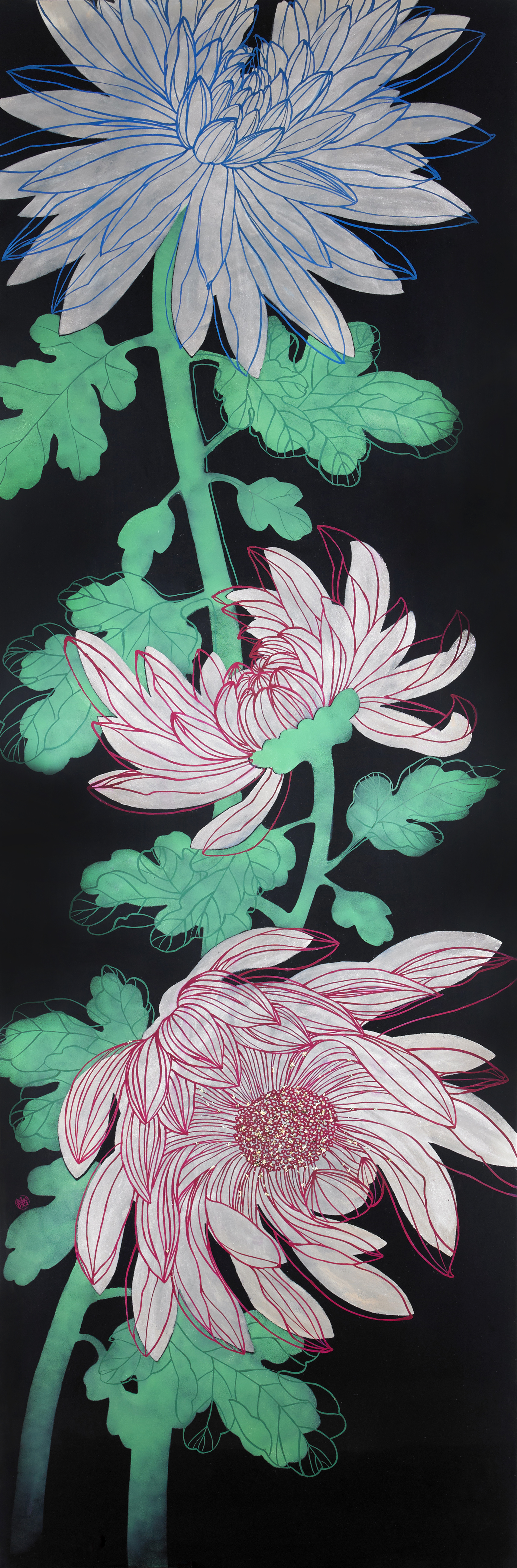 Fragrance of Chrysanthemum_120x40cm_natural lacquer on wooden panel_2017
