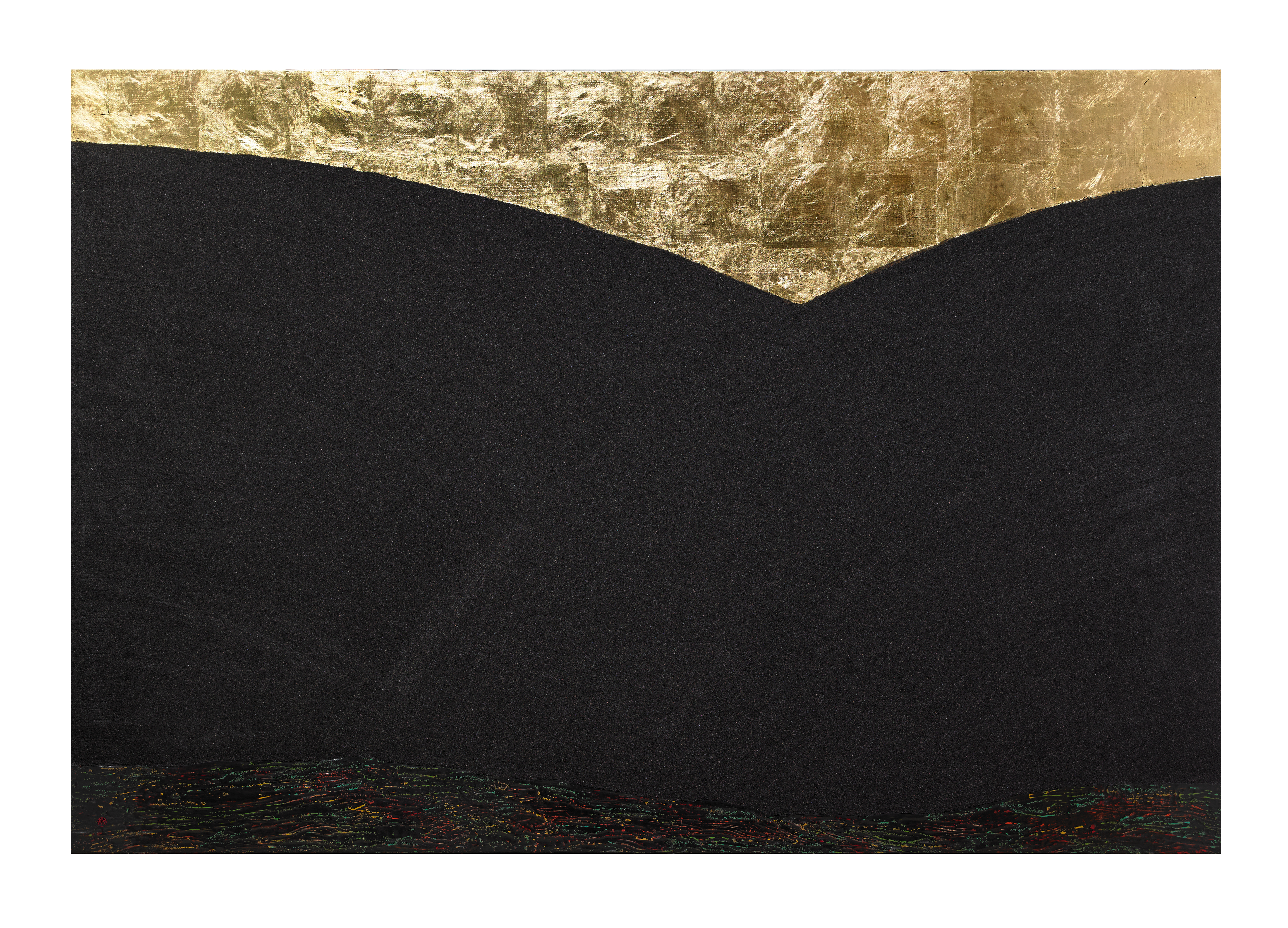 Flow _7_80x120cm_natural lacquer on wooden panel, gold leaf, stone powder_2018