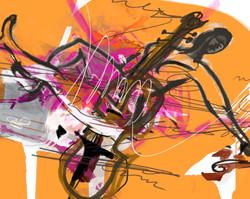 7월.모지선 Mo Jeesun.Dream of Concert Orange.116.8cm X 91cm, Digital Print on Canvas, 2017
