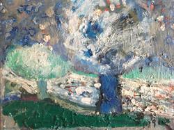 4월_유경옥_Kyungok_Yoo._Two_Trees_Planted_by_the_River_of_Water._24_X_31._Oil_on_Canvas_1991.