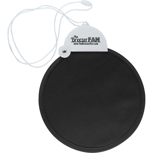 Black Breezer Fan with Lanyard (Round)