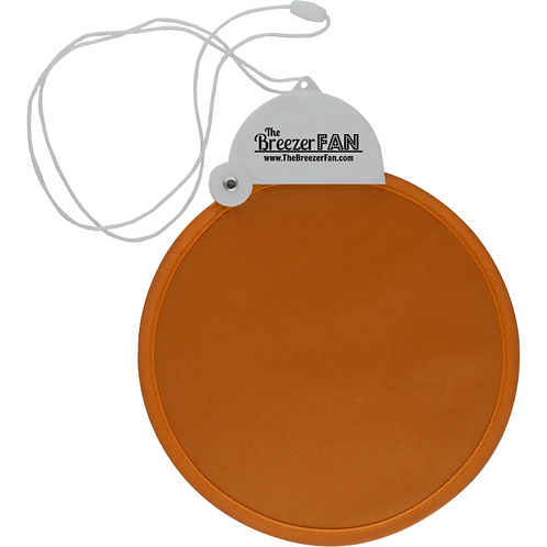 Orange Breezer Fan with Lanyard (Round)