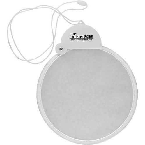 White Breezer Fan with Lanyard (Round)