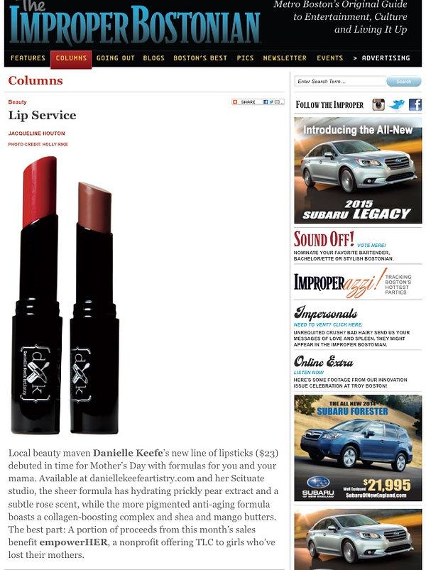 improper bostonian, danielle keefe, makeup artist, newbury street makeup artist, beauty maven, lipstick,