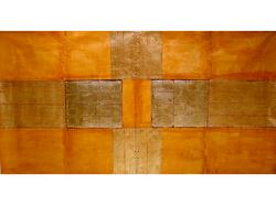 Orange with gold leaf design