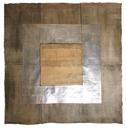 Brown with silver leaf design