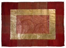 Red and gold leaf design
