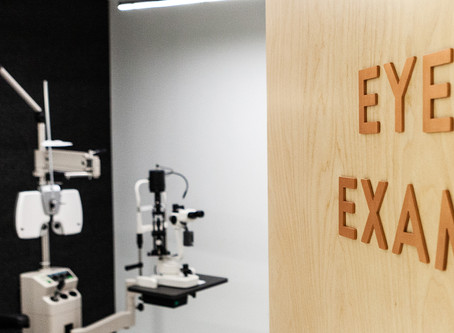 What does the pre-screening check for in an eye exam?