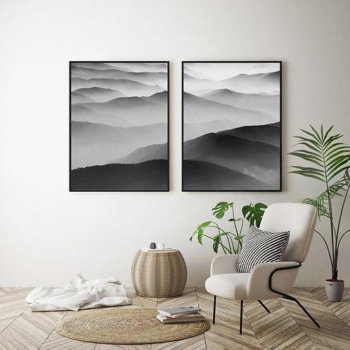 BLACK & WHITE MOUNTAINS SILHOUETTES SET