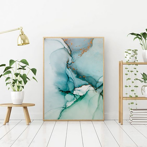 TURQUOISE & BLUE MARBLE FRAME