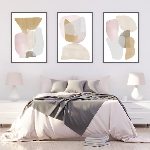 GEOMETRICAL PINK& GOLDEN TONES SET