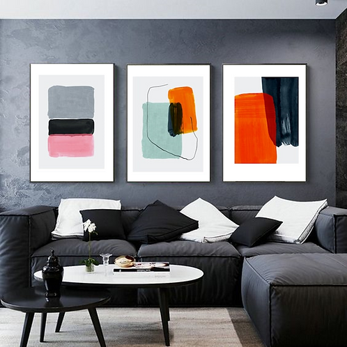 COLORFUL BRUSHPAINTED ABSTRACT SET