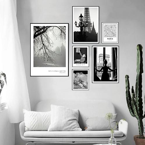 PARIS BLACK & WHITE PICTURES SET