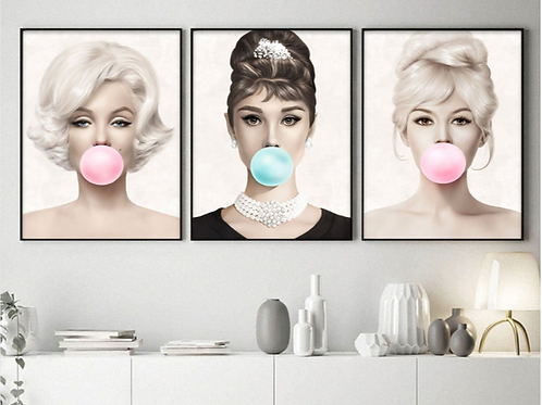 MARILYN, AUDREY & BRIGGITE BUBBLEGUM SET