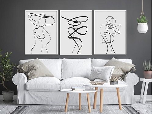 WOMEN ABSTRACT ONE LINE FIGURE SET