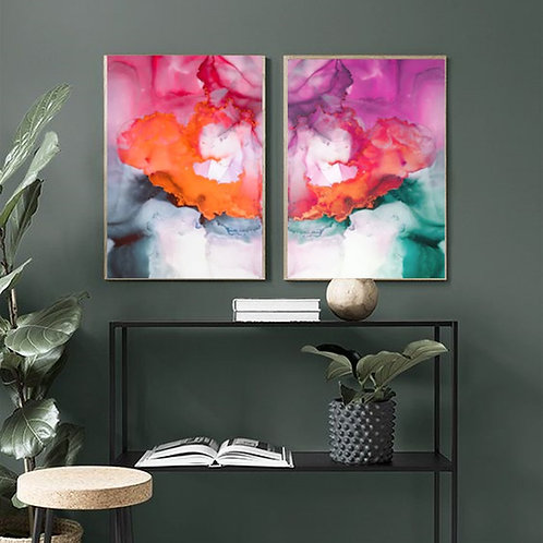 COLORFUL MORRORED WATERCOLOR & TINT ART FRAME