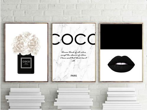 COCO CHANEL BLACK &WHITE SET