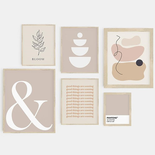 ABSTRACT NEUTRAL BLOOM PRINTS SET