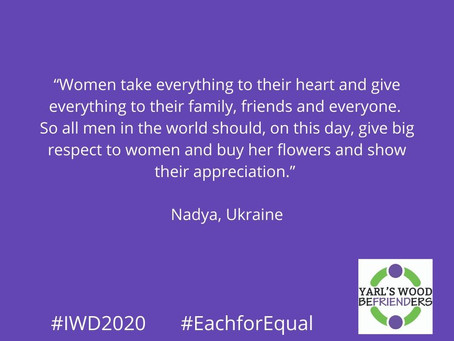 IWD2020 - comments from women detained in YWIRC