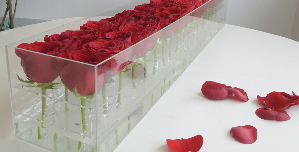 36 fresh roses acrylic flower boxes