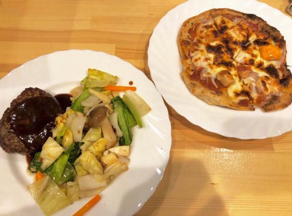 ハンバーグとピザ