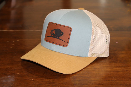 Sky Blue/Tan Leather Patch Hat