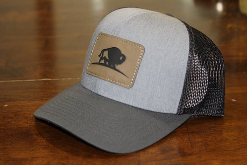 Grey/Charcoal Leather Patch Trucker Hat