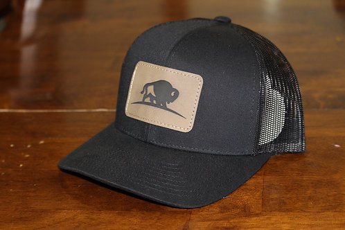 Black Leather Patch Trucker Hat