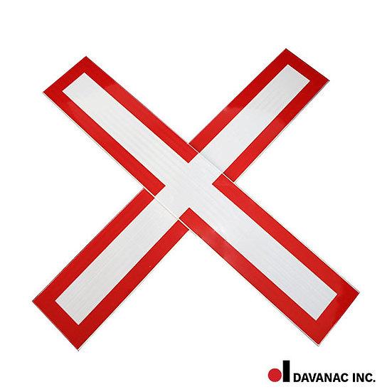Cross-buck, highway crossing red border, diamond grade refl.