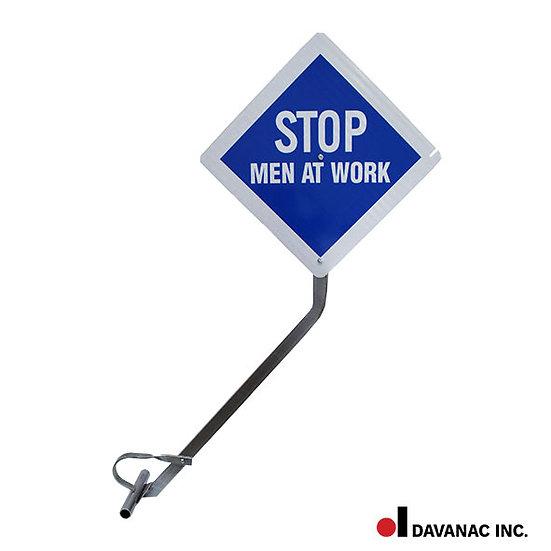 Flag, blue w/rail clamp stop, men at work