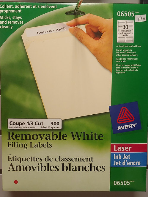 Avery Removable White Filing Labels 300 Labels