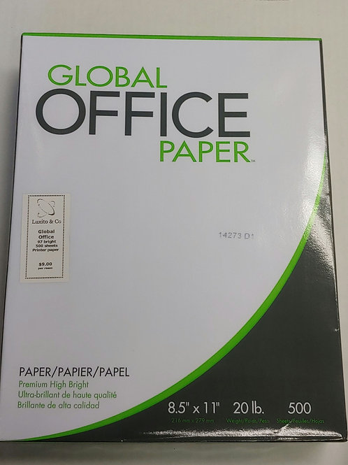 "Global Office 20lb 97 Bright 8½"" x 11"" Paper"