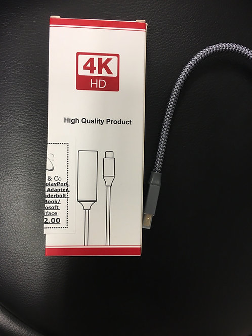 Mini Display Port to HDMI Adapter 4K Thunderbolt MacBook/Microsoft Surface