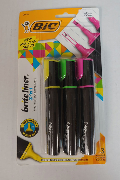 Bic Brite Liner 3 In 1 Assorted Colors