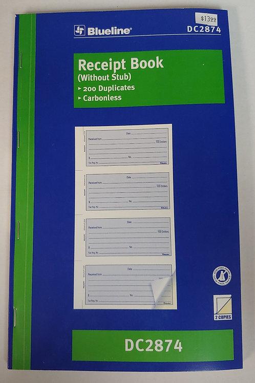 Blueline Receipt Book Without Stub 200 Duplicates