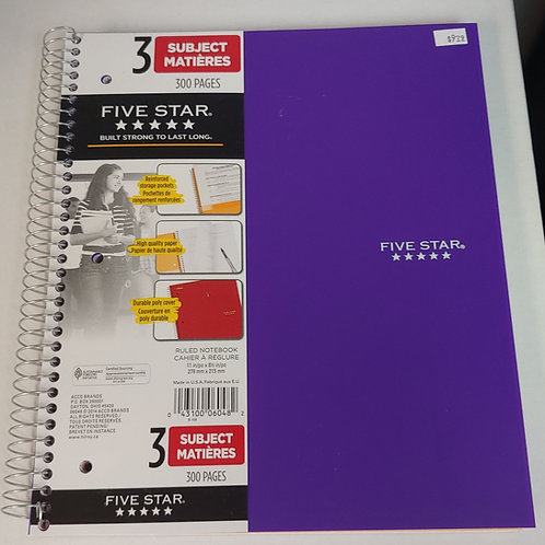 Five Star 3 Subject Ruled Notebook 300 Pages
