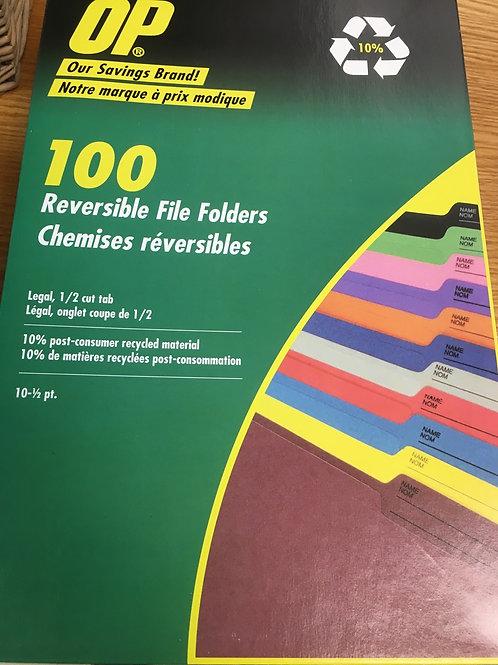 OP Brand Coloured Reversible File Folders - Legal size