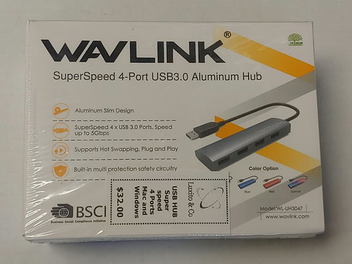 Wavlink Superspeed 4-Port USB 3.0 Aluminum Hub for Mac and Windows