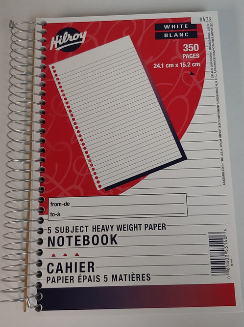 Hilroy 5 Subject Heavy Weight Paper Notebook 24.1cm x 15.2cm