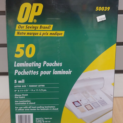 "OP 50 Laminating Pouches 9"" x 11½"""