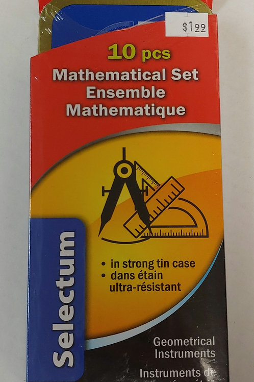 10 Piece Mathematical Set in Tin Case